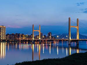 Обои Тайвань Дома Реки Мосты Вечер Города