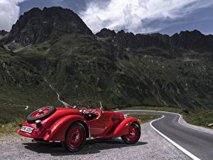 Фотографии Ретро БМВ Красных Металлик Родстер 1936-40 328 Roadster