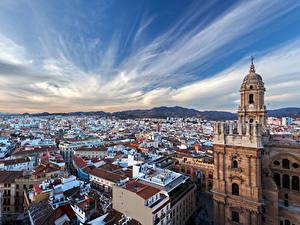 Обои для рабочего стола Испания Дома Храмы Небо Краши Malaga Города