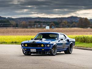 Фотография Ford Металлик Синих Mustang, Mach 1, Muscle car, 1969 машины