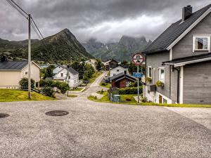Фотографии Норвегия Дома Горы Улице Husoy Города