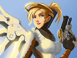 Картинки Овервотч Пистолеты Fan ART Mercy Игры Девушки Фэнтези