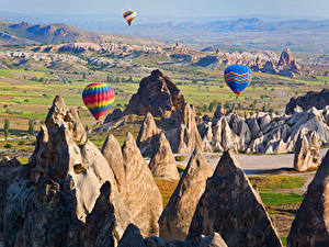 Фото Турция Парки Скала Воздушный шар Cappadocia Природа