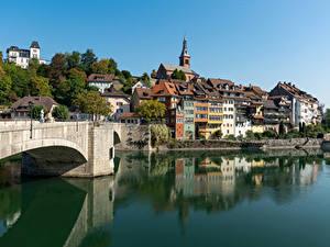 Картинки Швейцария Здания Озеро Мосты Laufenburg