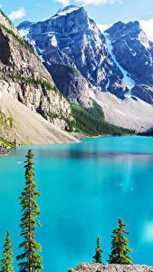Фотографии Пейзаж Озеро Гора Канада Парки Банф Moraine Природа