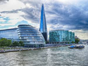 Картинки Англия Небоскребы Реки Лондоне Thames, The Shard город