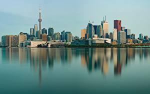 Обои Здания Торонто Канада Берег Отражении Башни
