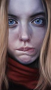 Картинка Рисованные Вблизи Лицо Взгляд Девушки