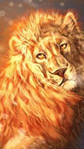Картинка Львы Пламя Взгляд by Lesventie Фэнтези