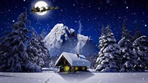 Обои Рождество Зимние Дома Олени Ночные Снег Луна Сани