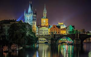 Обои Прага Чехия Реки Мосты Ночью Города