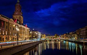 Фото Швеция Здания Реки Небо В ночи Уличные фонари Водный канал Gothenburg город