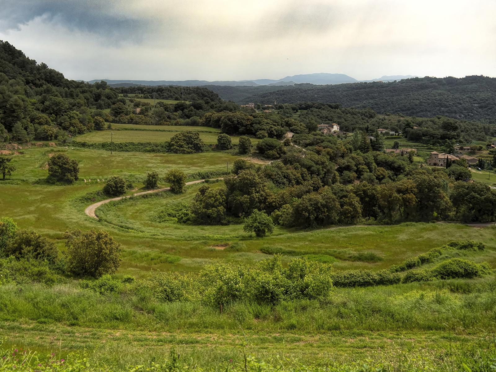 Фотография Испания Granera Catalonia Природа Леса Луга траве Дома 1600x1200 Трава Здания
