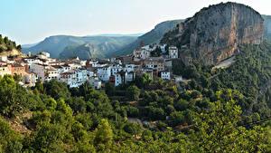 Обои Испания Дома Скала Дерева Chulilla Города