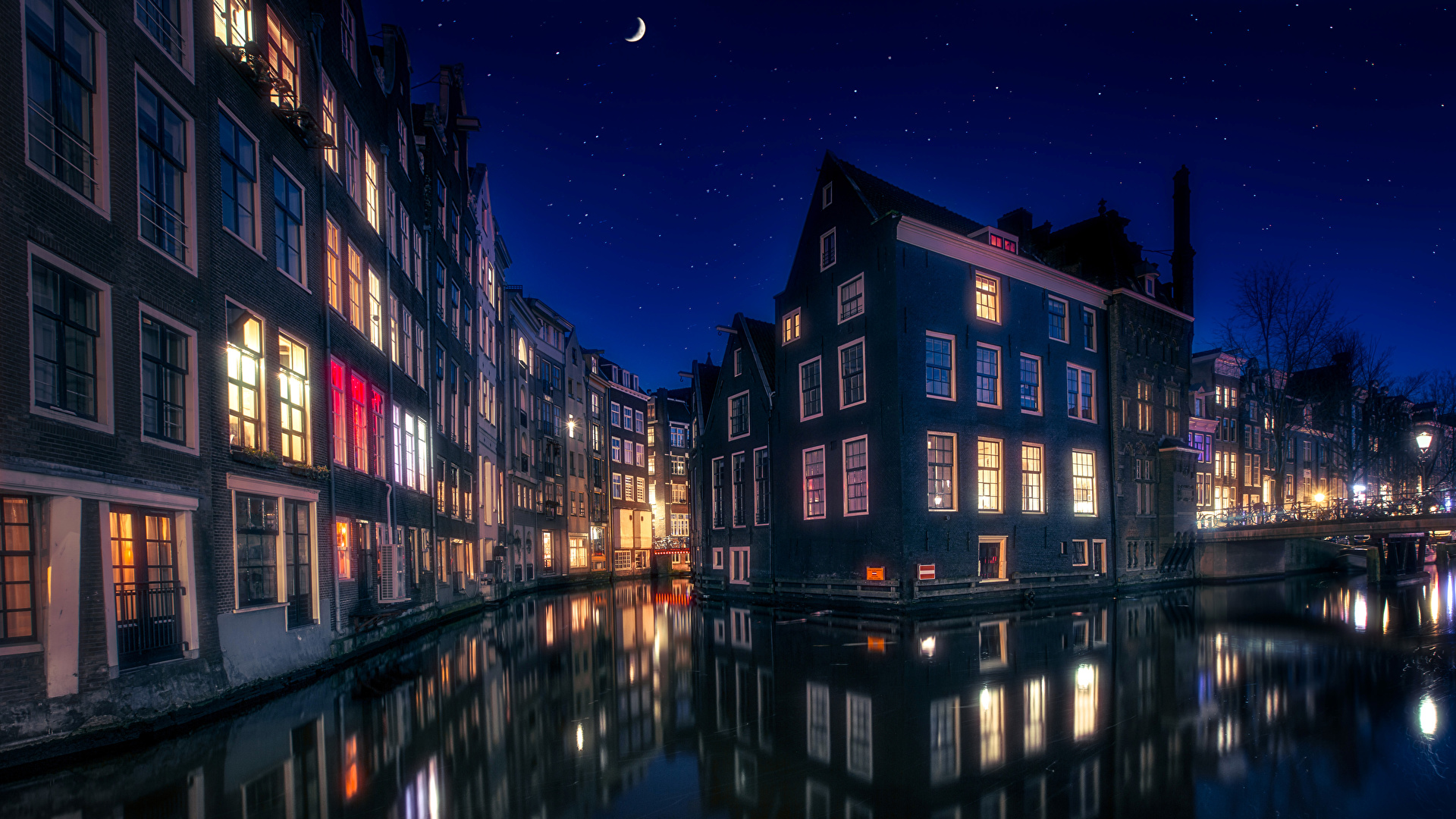 Обои канал, нидерланды, дома, ночь. Города foto 7