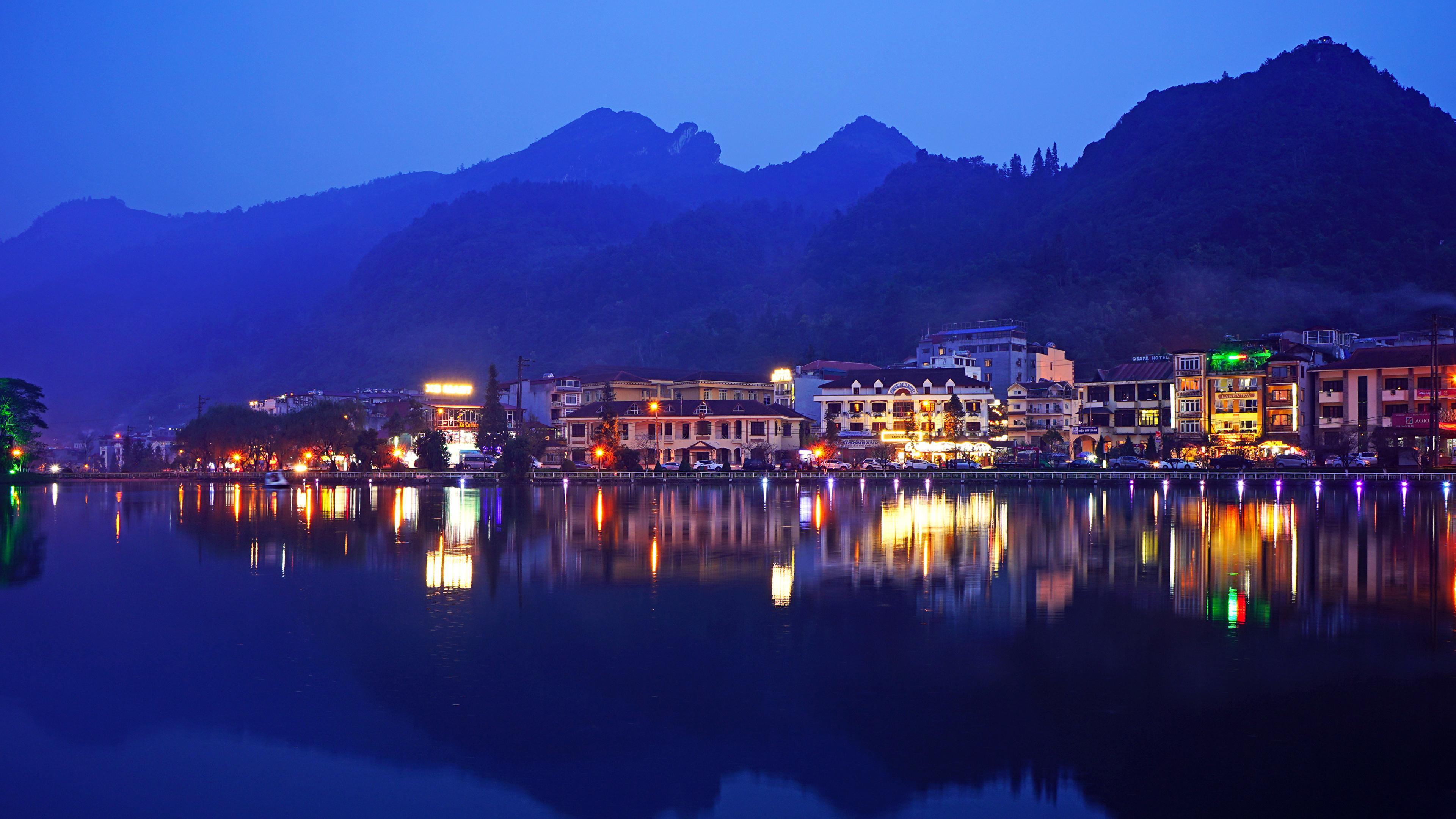 Картинки Вьетнам Sa Pa District Lao Cai Вечер речка Города Здания 3840x2160 река Реки Дома город