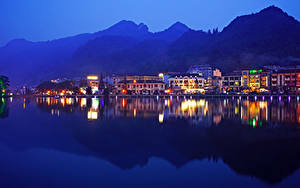 Картинки Вьетнам Здания Речка Вечер Sa Pa District Lao Cai Города