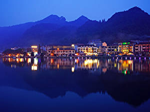 Картинки Вьетнам Здания Реки Вечер Sa Pa District Lao Cai Города