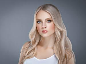 Картинки Серый фон Блондинка Волосы Смотрит Красивая Девушки