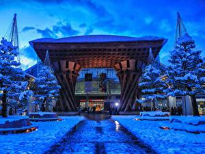 Фотография Япония Токио Здания Зимние Вечер Снег Деревьев Города