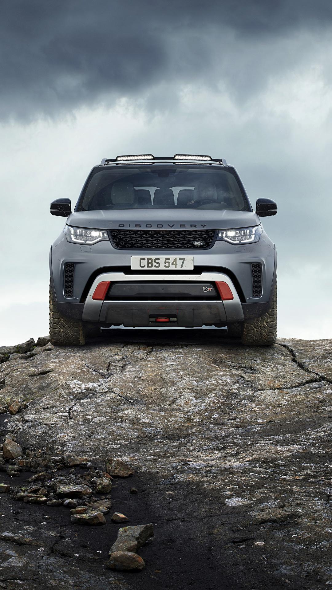 Фотографии Range Rover Внедорожник Discovery 4x4 2017 V8 SVX 525 скалы серая Камни Спереди Металлик Автомобили 1080x1920 для мобильного телефона Land Rover SUV Утес скале Скала Серый серые авто Камень машины машина автомобиль