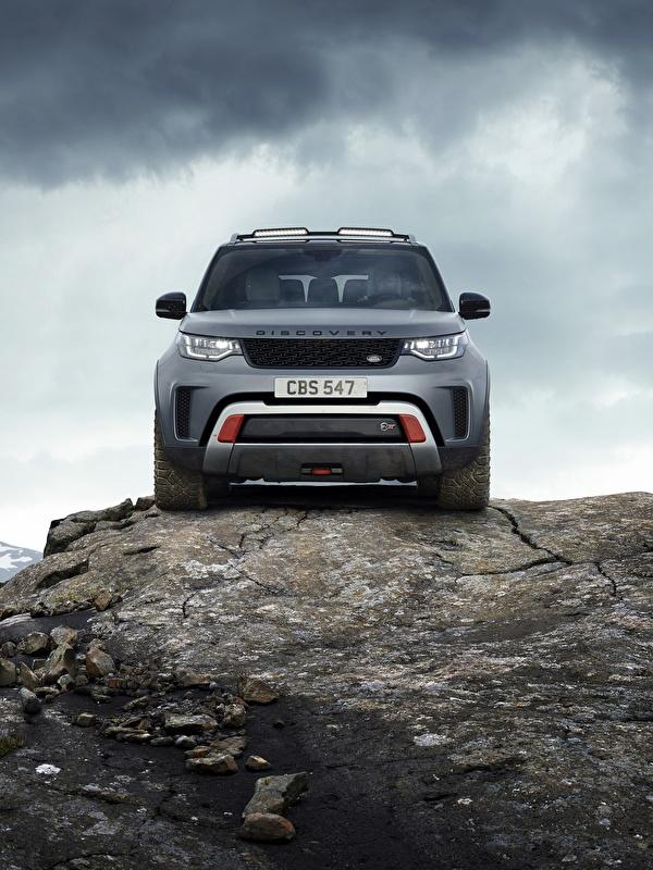 Фотографии Range Rover Внедорожник Discovery 4x4 2017 V8 SVX 525 скалы серая Камни Спереди Металлик Автомобили 600x800 для мобильного телефона Land Rover SUV Утес скале Скала Серый серые авто Камень машины машина автомобиль