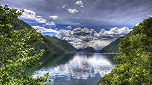 Фотографии Италия Озеро Пейзаж Горы Небо Облако Lake Lugano Природа