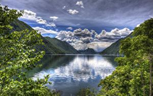 Фотографии Италия Озеро Пейзаж Гора Небо Облако Lake Lugano Природа
