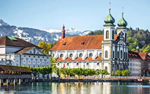 Картинки Швейцария Дома Озеро Мосты Lucerne Города