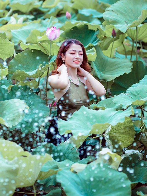 Картинки Листья шатенки Девушки Лотос азиатки 600x800 для мобильного телефона лист Листва Шатенка девушка молодая женщина молодые женщины Азиаты азиатка