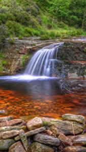 Картинка Англия Водопады Камни HDRI Anglezarke