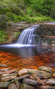 Картинка Англия Водопады Камни HDRI Anglezarke Природа
