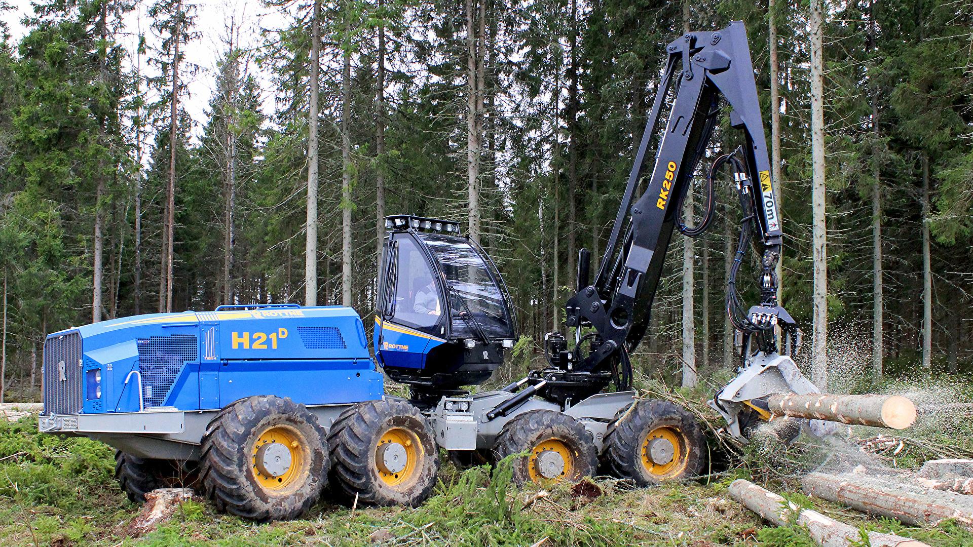 Фотографии Форвардер 2013-18 Rottne H21D бревно лес 1920x1080 Бревна Леса