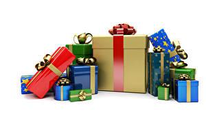 Обои Рождество Много Белый фон Подарки Бантик 3D Графика