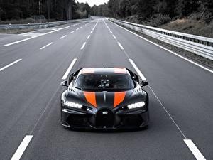 Фотография Дороги BUGATTI Спереди Черный Chiron Super Sport 300 машины