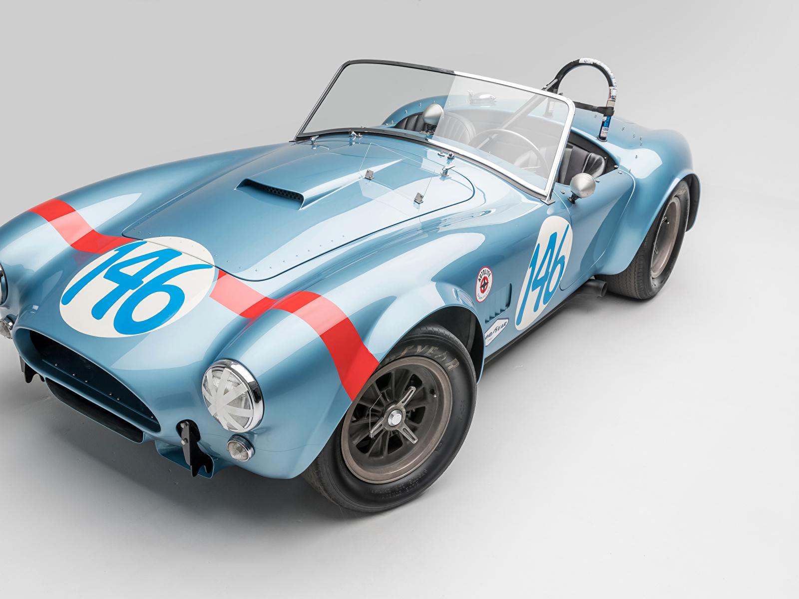 Фотографии SSC 1964 Shelby Cobra 289 FIA Competition Родстер Кабриолет Винтаж Голубой Авто Серый фон 1600x1200 Shelby Super Cars Ретро старинные Машины Автомобили