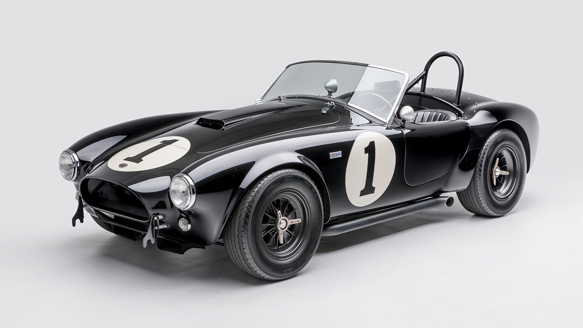 Фотографии Shelby Super Cars 1962 Shelby Cobra 289 Кабриолет Ретро черные Металлик Автомобили сером фоне 1920x1080 SSC кабриолета черных Черный черная винтаж старинные авто машина машины автомобиль Серый фон