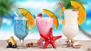 Картинка Коктейль Дыни Морские звезды Бокалы Продукты питания