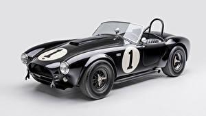 Фотографии Shelby Super Cars Ретро Сером фоне Черные Металлик Кабриолет 1962 Shelby Cobra 289 Автомобили