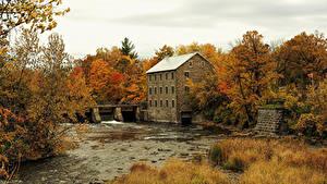 Фотографии Канада Здания Реки Осень Леса Manotick Ottawa Природа