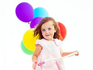 Фотография Белый фон Девочки Улыбка Шар Красивая Милый Дети