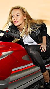 Картинка Блондинка Мотоциклист Смотрит Едущий Девушки