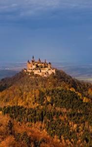 Картинка Замок Германия Гора Hohenzollern Castle Hechingen Природа
