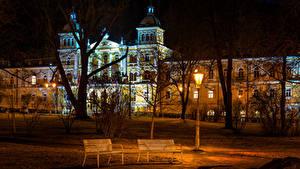Фотография Чехия Здания Уличные фонари Скамейка Ночь Деревья Usovice Karlovy Vary Region город