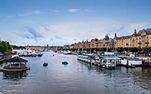 Фотографии Швеция Стокгольм Причалы Катера Города