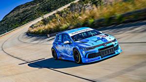Картинки Volkswagen Тюнинг Голубой Скорость 2020 Golf GTI GTC машины