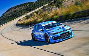 Обои для рабочего стола Volkswagen Тюнинг Голубой Скорость 2020 Golf GTI GTC машины