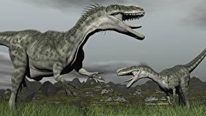 Картинки Динозавры Двое Траве Животные 3D_Графика