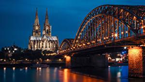 Фотография Германия Храм Реки Мост Причалы Ночью Уличные фонари Cologne Города