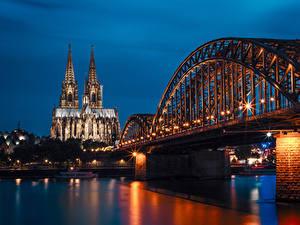 Фотография Германия Храмы Реки Мосты Причалы Ночью Уличные фонари Cologne Города